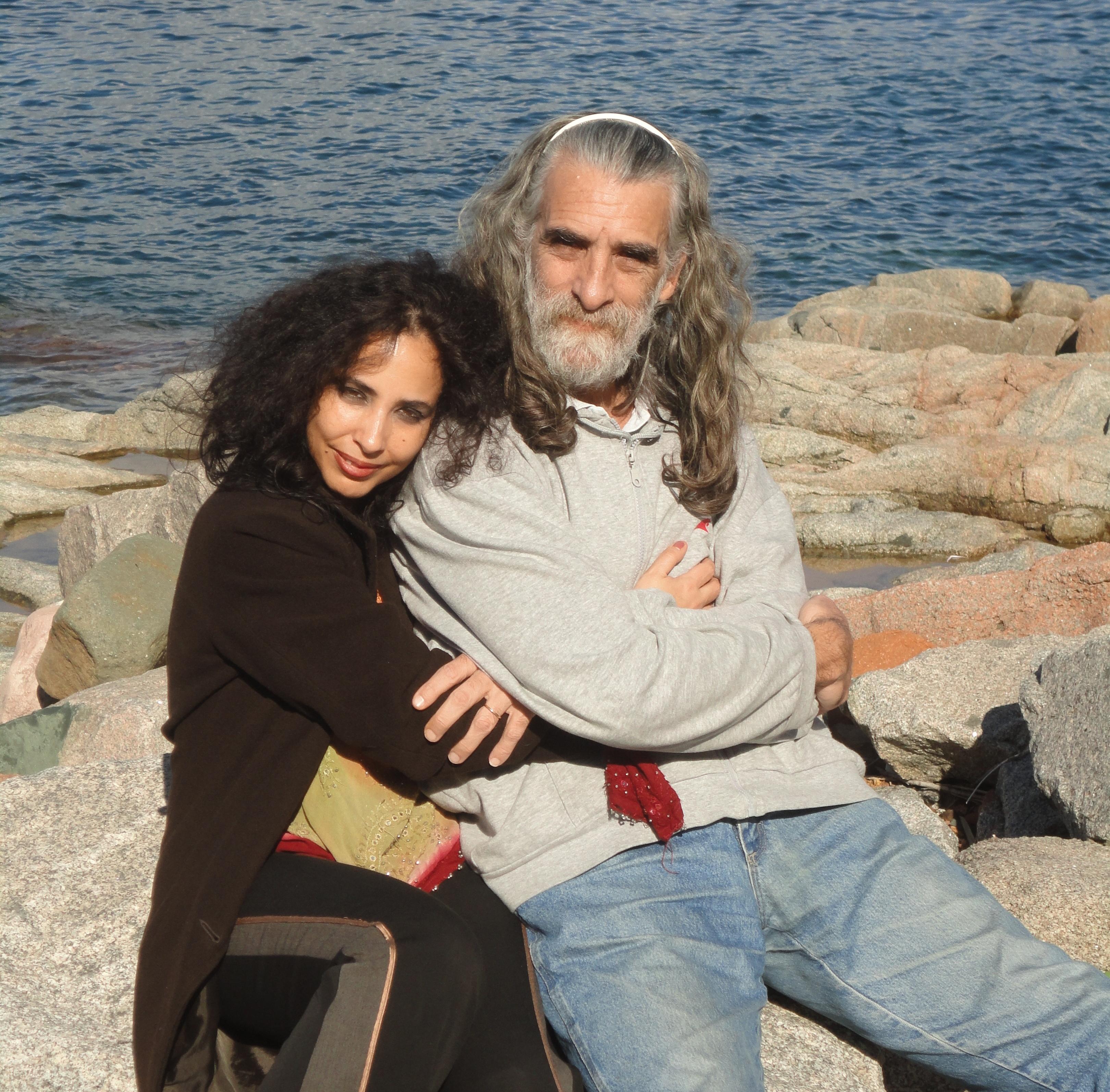 Il poeta con Giovanna Mulas