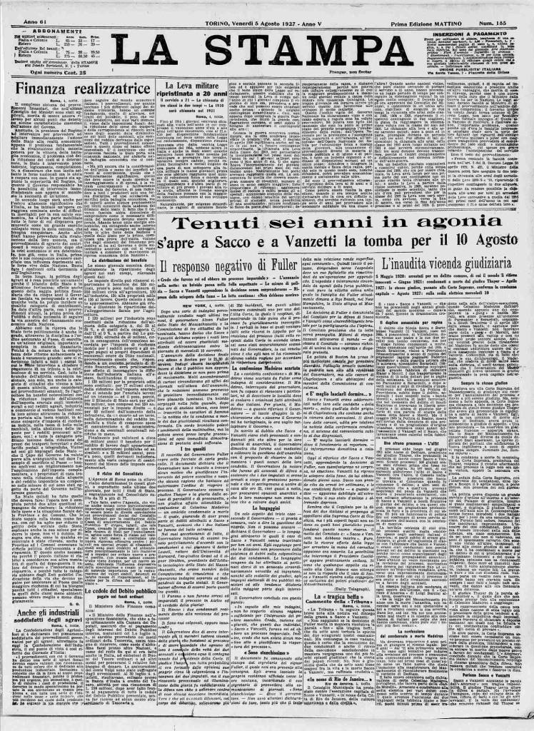 La Stampa del 5 agosto 1927