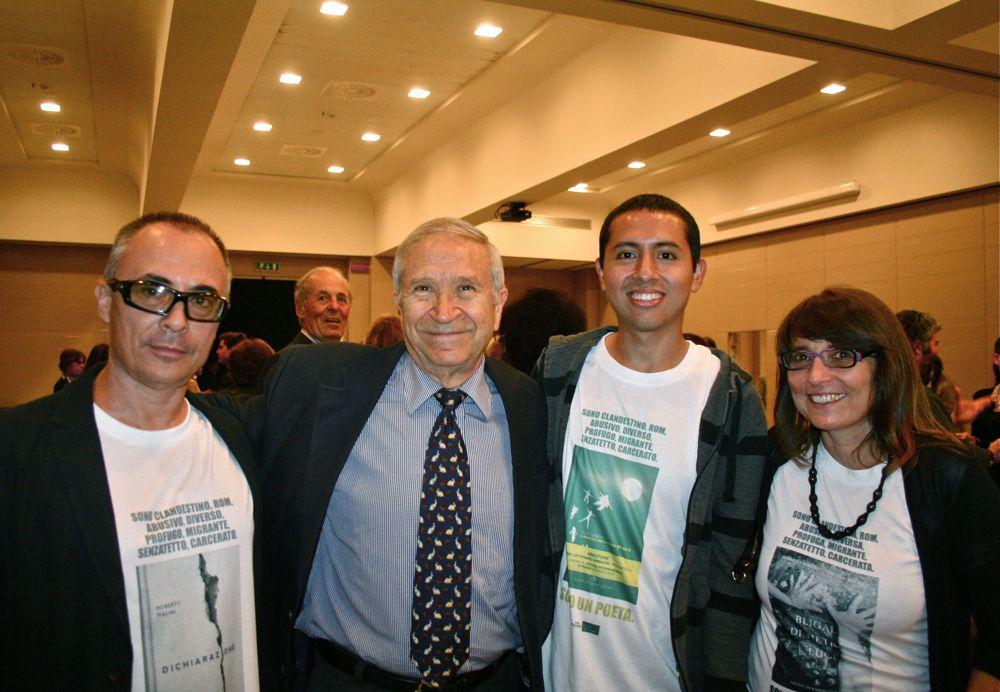 I poeti (da sinistra) Roberto Malini, Homero Aridjis, Steed Gamero e Daniela Malini