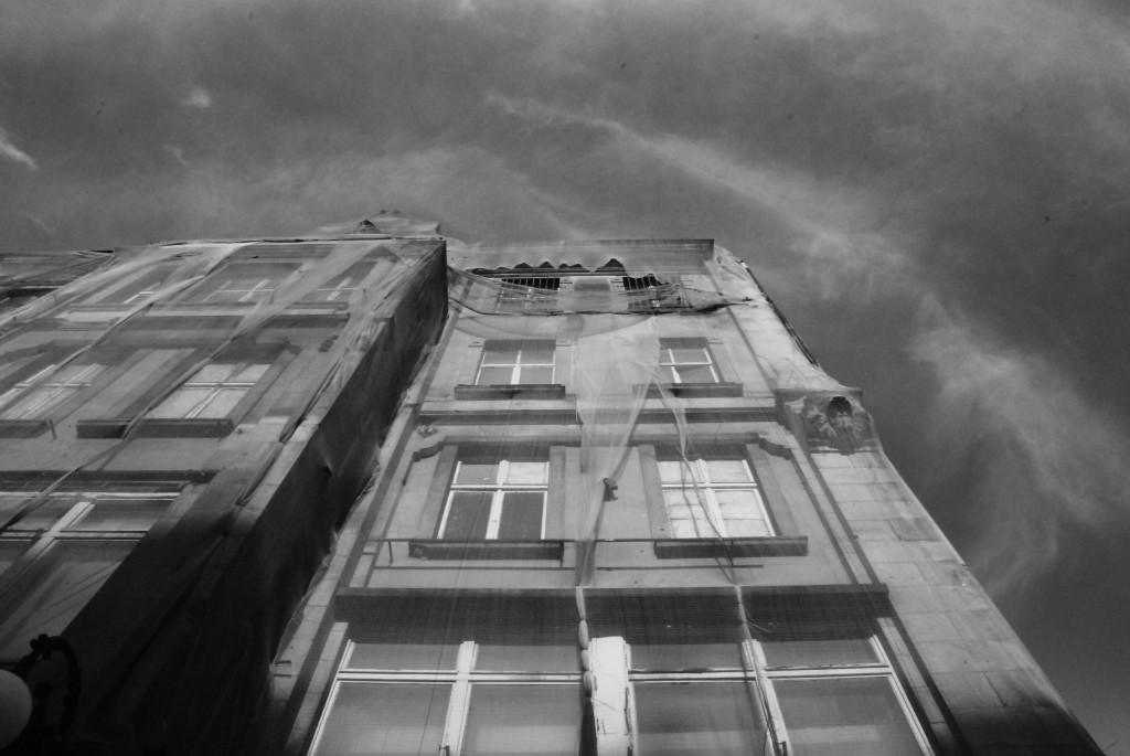 Mitte, Tucholskystraße. Palazzo velato (lavori in corso), 1 agosto 2013. Fotografia Elda Papa. Retrocover