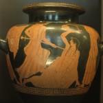 Orfeo ucciso dalle baccanti, stamnos a figure rosse, V secolo a.C., Parigi, Louvre