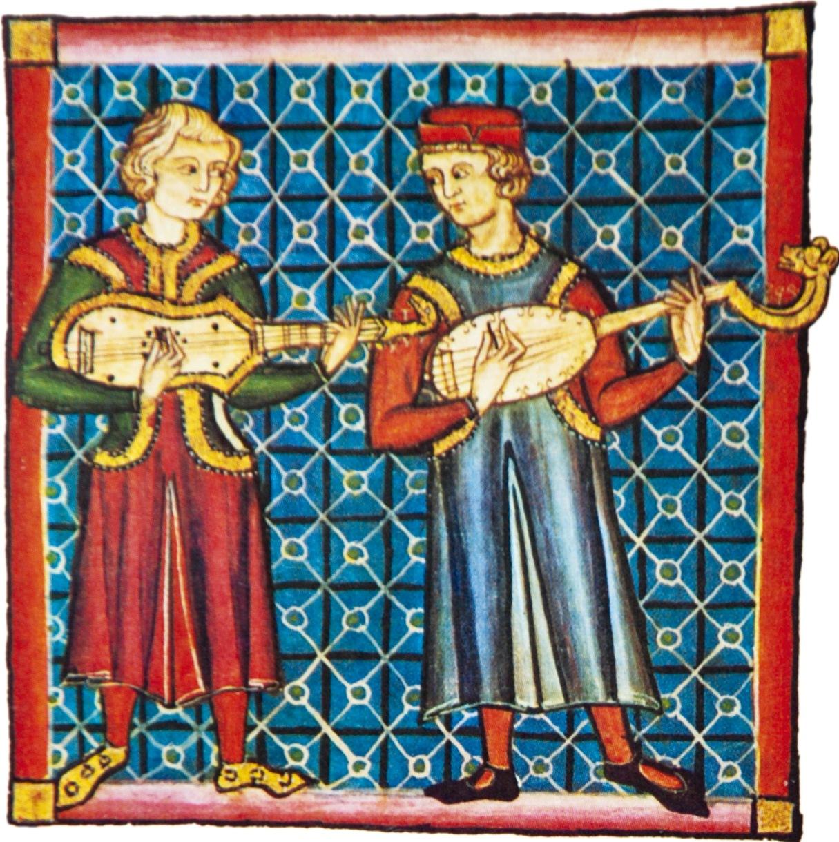 Guitarra latina e guitarra mourisca  na miniatura da cantiga 150 das Cantigas  de Santa María (códice j.b.2, século XIII).