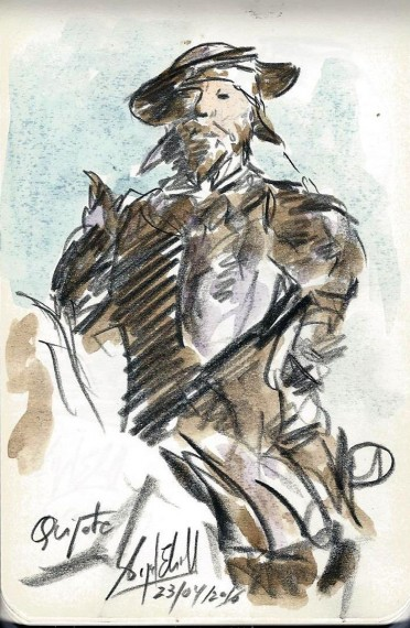 Don Quijote dibujo de Miguel Elias, 23-4-2016