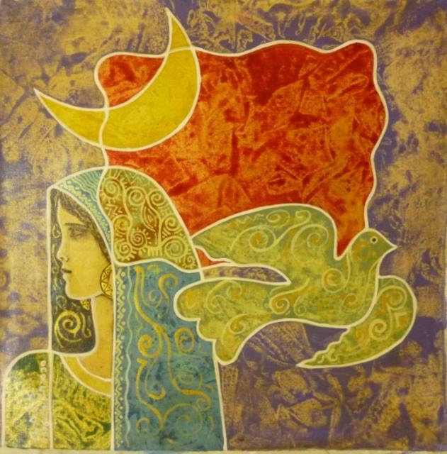 Un'opera dell'artista palestinese Mohammad al-Rakoui