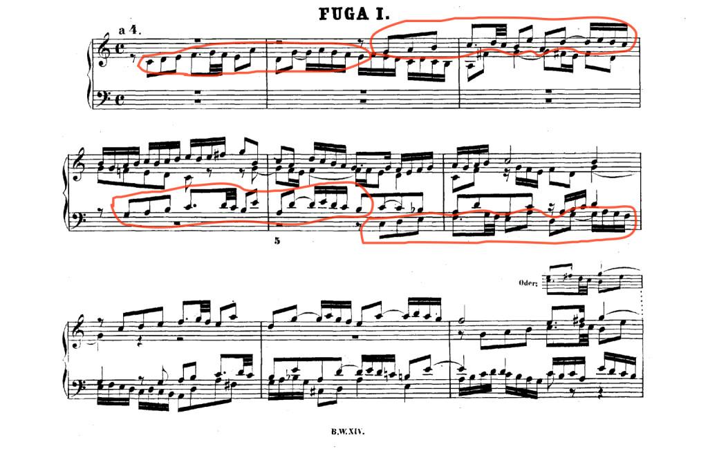 Evidenziazione Voci Prima Fuga Clav. ben Temperato Bach