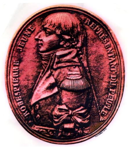 Medallion of Augustin Robespierre, struck after the taking of Toulon in December 1793. fromBuffenoir, Hippolyte: Études sur le dix-huitième siècle. Les portraits de Robespierre. Étude iconographique et historique. Souvenirs – documents – témoignages, Paris, 1910