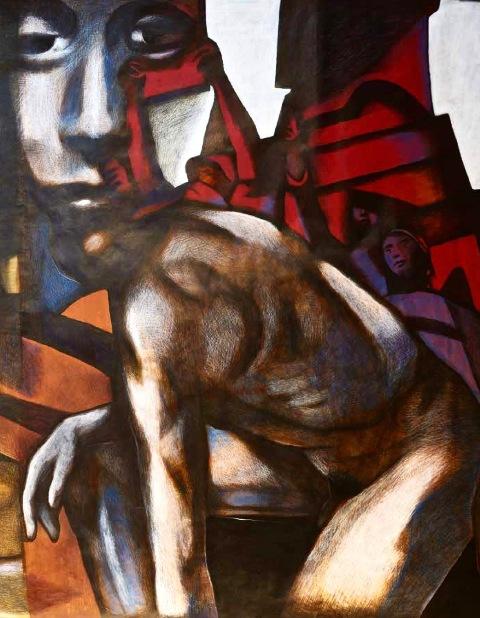 """Renato Galbusera """"I trionfi"""" (part.) 2017, tecnica mista su carta – cm. 220x1000"""