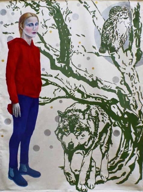"""Maria Jannelli """"Del reale, delle favole – Chi ha paura del lupo?""""  2018, tecnica mista su stoffa – cm. 200x240"""