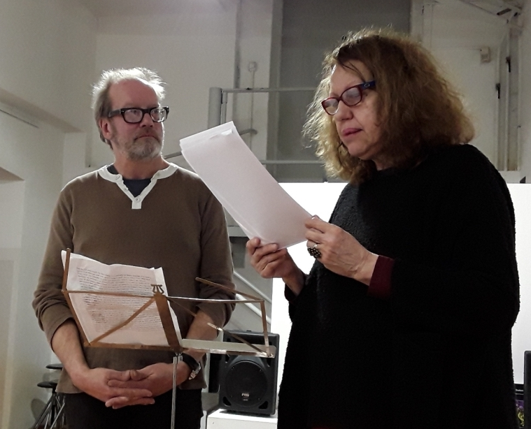 "Anthony Mellors and Claudia Azzola during the performance ""Il suono delle parole e delle lingue"", 13 January 2018, Spazio Tadini Milano (photo: Silvia Pio)"