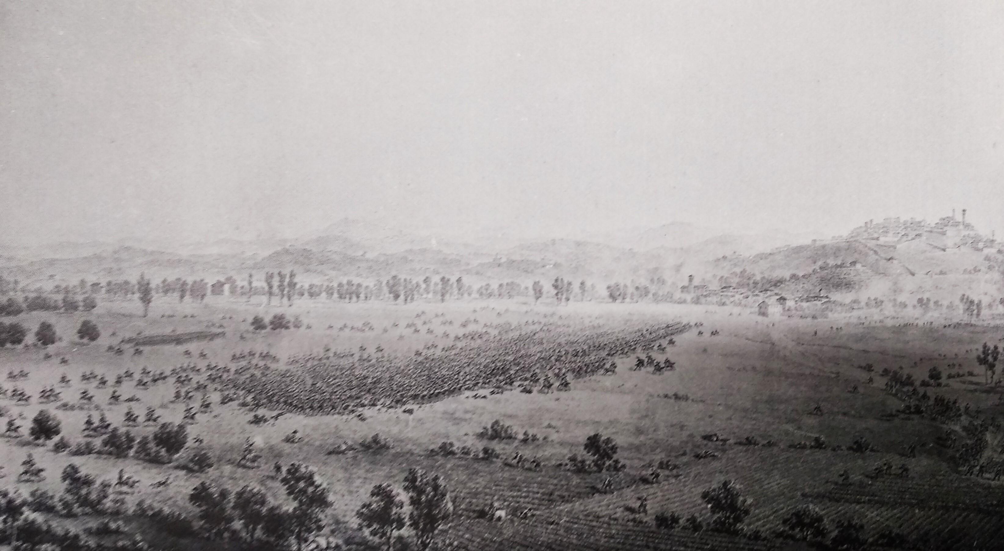 Giuseppe Pietro Bagetti, «Il combattimento della cavalleria piemontese contro quella francese sulle pianure di Carassone vicino a Mondovì, li 21 aprile 1796», acquerello, Torino, Palazzo Reale.