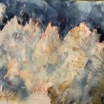 La lune et la montagne, aquarelle de Maddalena Poleggi