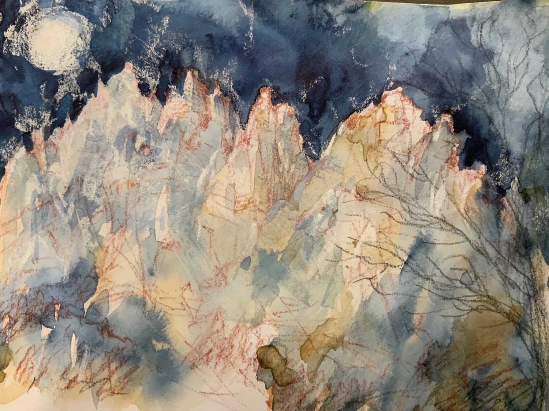 La luna e la montagna, acquerello di Maddalena Poleggi